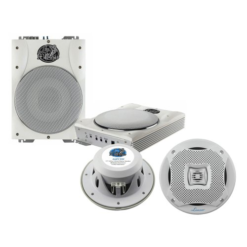 Lanzar Marine Amp Woofer And Speaker Package - Aqtb8 8'' 1000 Watts Low-Profile Super Slim Active Amplified Marine/Waterproof Subwoofer System - Aq7Cxw 500 Watts 7.7'' 2-Way Marine Speakers (White Color) (Pair)