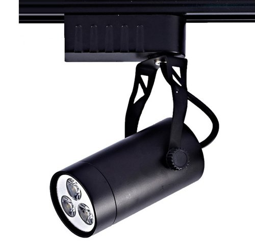 De-Spark Led Spotlights Track Light Kit 3 Led Bulbs Warm White 2700-3500K 3W 110V Ceiling Rail Light (Black Case)
