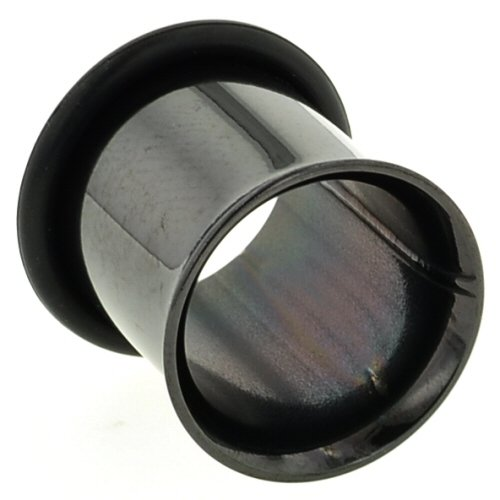 One Pvd Stainless Steel Single Flared Eyelet: 00G, Black (Sold Individually. Order Two For A Pair.)