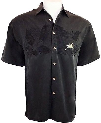 Cubavera Mens Beach Parrot Print Embroidery Camp Collar Shirt