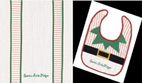 """Santa's Little Helper"" Bib and Burb Cloth Set - 1"