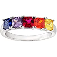 Finecraft Ruby & Multi-Colored Cubic Zirconia Band Ring (Sterling Silver)