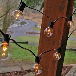 Globe String Lights, 100 Feet Black Wire, Clear 2 Inch Bulbs