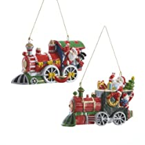 3CERAMIC SANTA TRAIN ORNAMENT 2/ASSTD.
