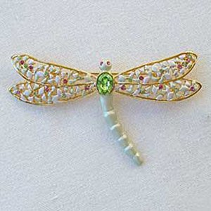Platinum-Plated Swarovski Crystal Large Dragonfly Brooch/Pin