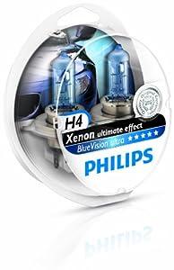 Philips 0730219 12342-BVUSM H4 Blue Vision 100% Headlight Bulbs (A Pair)