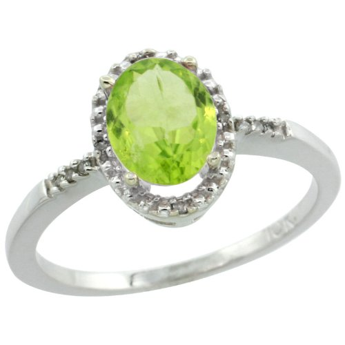 10k White Gold ( 8x6 mm ) Halo Engagement Peridot Ring w/ 0.033 Carat Brilliant Cut Diamonds & 1.05 Carats Oval Cut Stone, 3/8 in. (10mm) wide, size 5