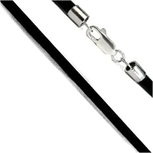 1.5 mm Black 20 Inch Leather Cord Sterling Silver Ends and Lobster Clasp Necklace
