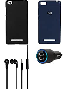 NIROSHA Cover Case Car Charger Headphone for Xiaomi Mi 4i - Combo