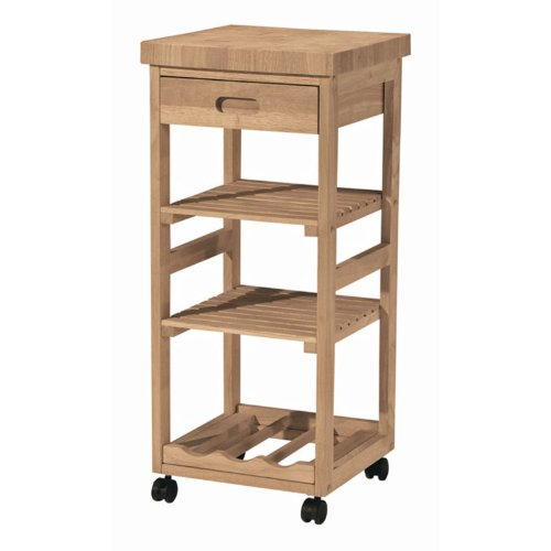 Cheap Whitewood Natural Kitchen Cart Trolley (WC-1515)