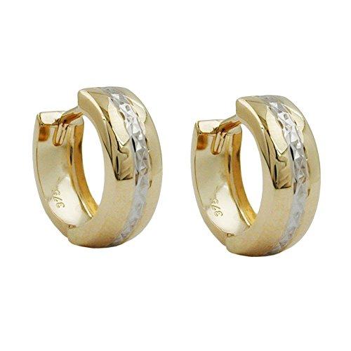 goldene Creolen Kreolen gold 375 Creole, bicolor diamantiert 9 Kt GOLD