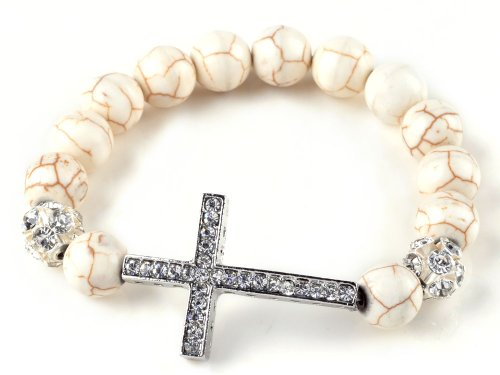 Rhinestone Cross Side Ways White Stone Beaded