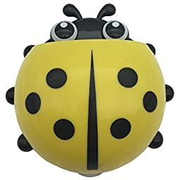 Mziart Cute Ladybug Toothbrush Holder Bathroom Toothpaste Holder for Kids, 3 Powerful Suction Cup (Yellow)