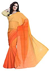 GiftPiper Pure Chiffon Mukesh Work Saree- Orange
