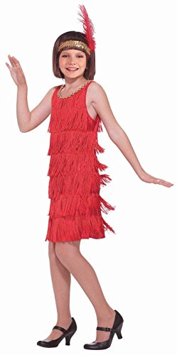 Roaring 20's Red Flapper Girl Costume Fancy Dress Charleston Fringe Gold Sequin