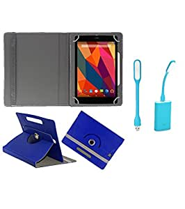 Gadget Decor (TM) PU Leather Rotating 360° Flip Case Cover With Stand For iBall Q40i Tablet + Free USB Led Light - Dark Blue