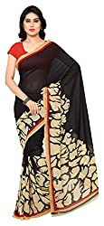 Georgette Saree (Black and Beige) with FREE CHAIN BAG