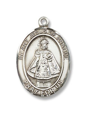 Infant of Prague Sterling Silver Medal with 18