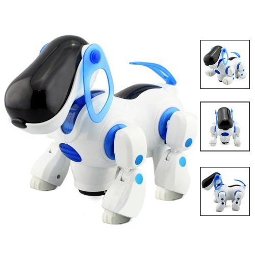 Sodial(R) Robotic Interactive Pet Dog Walking Bump Go Puppy Kids Toy Children front-11848