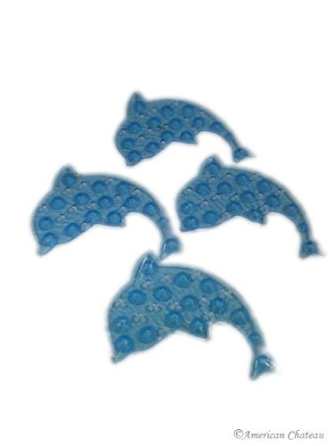 NEW Set 4 PACK Blue Dolphins Anti Non Slip Bath APPLIQUES Shower Mats Stickers