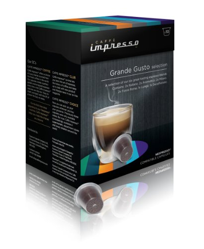 Buy Caffe Impresso Grande Gusto Variety Box Nespresso Compatible Capsules (Pack of 4, Total 40 Capsules) from Caffe Impresso