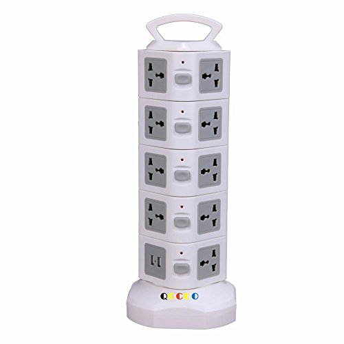 20-Outlet Smart Home Office Surge Protector Power Strip With Retractable Power Cable US Plug+2USB(gray)