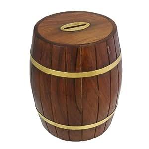 Royaltyroute handmade wooden money box barrel shape piggy for Handmade coin bank