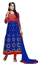 Khoobee Presents Multi Embroidered And Embellished Soft Net,Art Silk Two In One Unstitched Dress Material(Blue,Red)