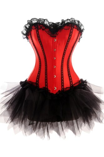 Black and Red Corset Dress with Tutu Net Mini Skirt