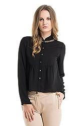 Kazo Women's Button Down Shirt (112620BLACKM)