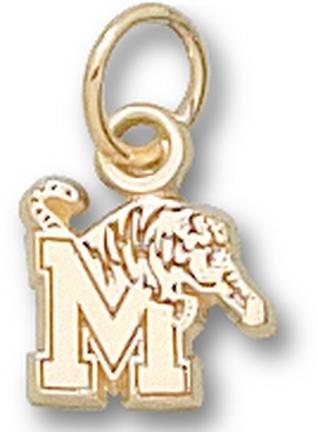 """Memphis Tigers """"M Tiger"""" 1/4"""" Charm - 10KT Gold Jewelry"""