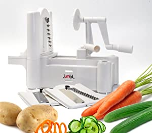 Jumbl™ Vegetable & Fruit Spiral Slicer w/Three Stainless Steel Blades - Made of Food- Grade Plastic - No Electricity Needed