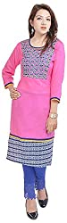 Geroo Women's Cotton Regular Fit Kurta (MKK-1531AZ, Pink, S)