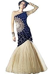 Justkartit Women's Blue & Off-White Color Velvet & Net Fabric Wedding Wear Dress Material / (Dual Bottom = LEHENGA + Salwar) / Dress material For special occasion