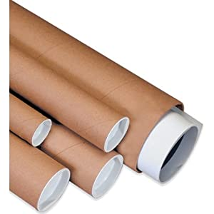 "2 X 22"" Kraft Mailing Tubes with End Caps - 25pcs"