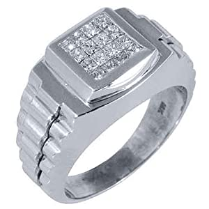 Mens Invisible Rolex Ring 18kt White Gold Princess Square .75 Carats