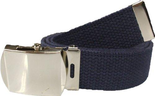 "100% Cotton Military 54"" Web Belt (Navy Blue Belt w/ Chrome Buckle)"