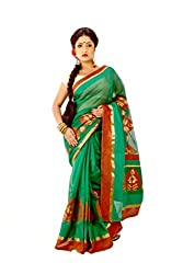 Mixmatch Deep green colour dsigner art silk saree with matching blouse dsc0403