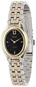 Seiko Women's SUP016 Two-Tone Solar Black Oval Dial Watch