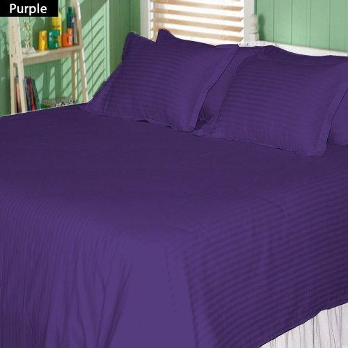 500 Tc 4 Pc King Size Attached Waterbed Sheet Stripe Purple By Jay'S Home Goods front-351771