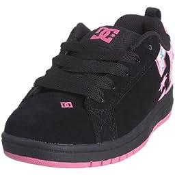 DC Court Graffik Se Lowtop Kids Cup Sole Shoe, Size: 4 M US Toddler, Color: Black/Tq/Cpnk