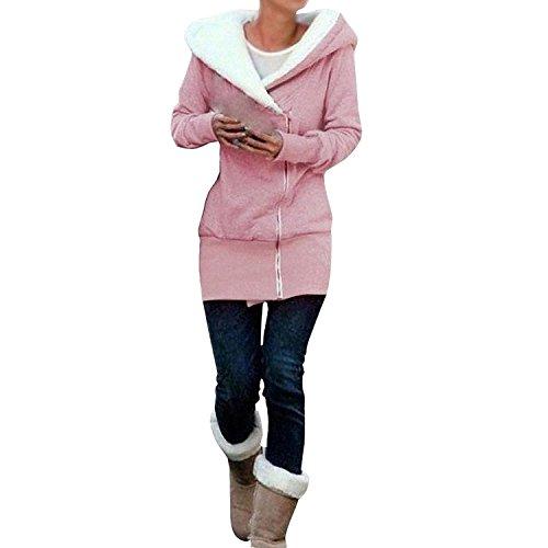Minetom Sweatshirt Maniche Lunghe Con Cappuccio Felpa - Donna Cerniera Hoody ( Pink IT 44 )