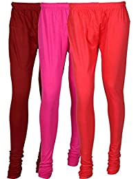 Fashion And Freedom Women's Cotton Leggings Pack Of 3_FFCL_MM1P_MAROON-MAGENTA-PINK_FREESIZE