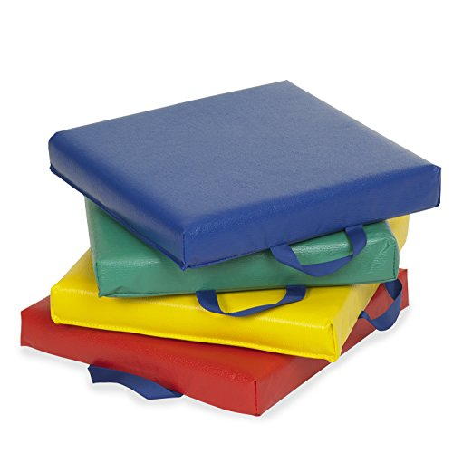 ECR4Kids SoftZone Carry Me Cushions (4-Piece), Square, Assorted Colors