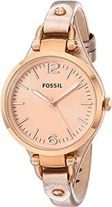 Fossil Georgia Three-Hand Leather Watch - Metallic Rose Es3413