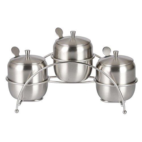 Anself 3Pièces Assaisonnement Pot en Acier Inoxydable avec Cuillère pour la Cuisine