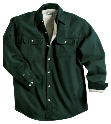 Tahoe Denim Shirt Jacket with Fleece Lining, Color: Dark Forest/Khaki, Size: XX-Large