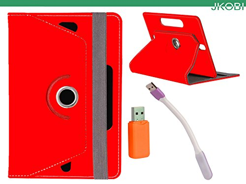Jkobi Combo of Tablet Book Flip Flap Case Cover With LED Light & Card Reader Compatible For Lenovo A1000l -Red  available at amazon for Rs.240