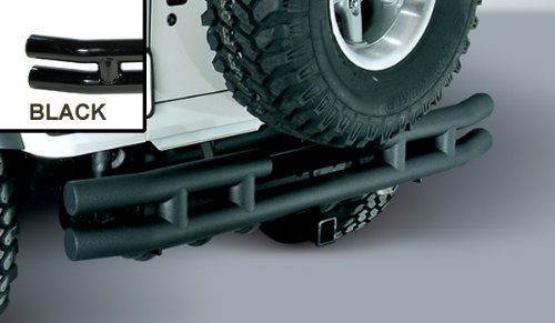 REAR TUBE BUMPER WITH HITCH; BLACK; 87-06 JEEP WRANGLER/UNLIMITED (TWO BOXES)