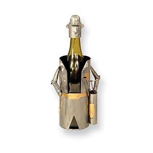 Metal Golfer Wine Caddy
